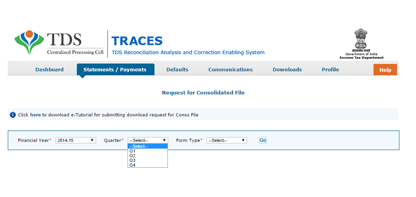 TRACES Financial Year, Quarter and Form Type