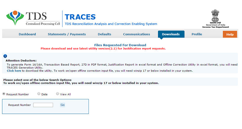 TRACES file requested for download screen