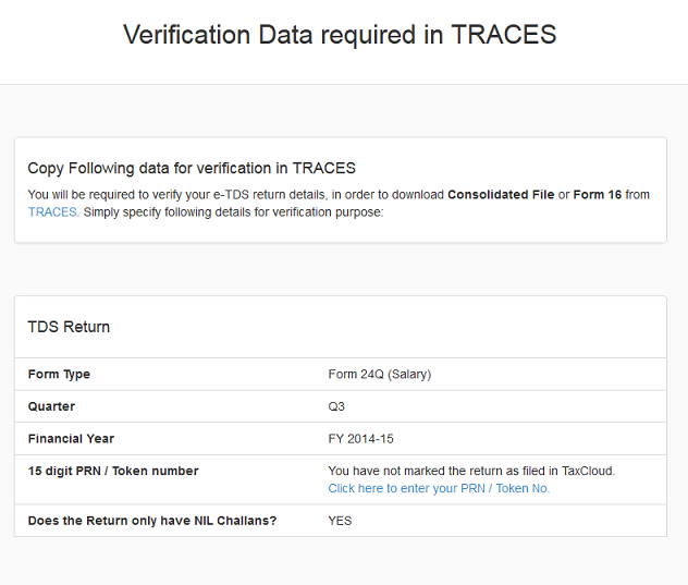 Verification Data for TRACES